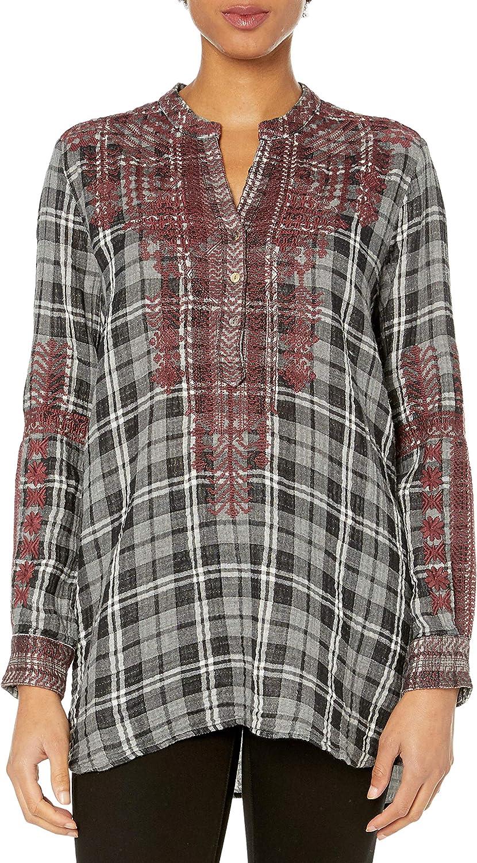 Johnny Was Women's 選択 Plaid 期間限定の激安セール Long Mandarin Collar Sleeve Tunic