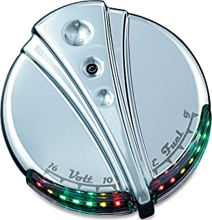 Kuryakyn 7281 Motorcycle Lighting Accent Accessory: Deco LED Fuel and Battery Gauge for 1988-2019 Harley-Davidson Motorcycles, Chrome