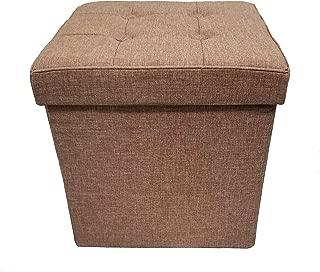 Fancy Linen Faux Linen Camel Foldable Storage Cube Ottoman Bench Seat New