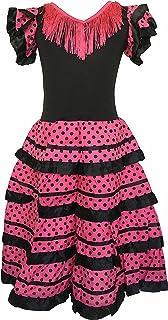 La Senorita Spanische Flamenco Kleid/Kostüm - für Mädchen/Kinder - Schwarz/Rosa - Größe 116-122- Länge 80 cm
