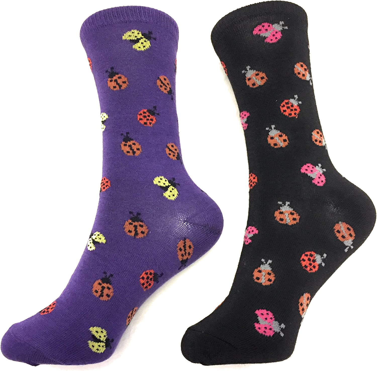 2 Pack Socks Lady Bugs Pattern Novelty Crew Socks Fun Fashion Casual Comfy Cozy (2 Pack)