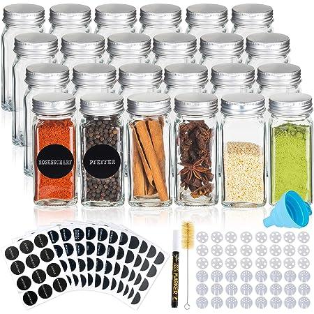 Deco haus Les bocaux à épices en Verre avec Un Couvercle à vis - Lot de 24 - Divers couvercles mélangeurs, Un Entonnoir, Un Pinceau, des étiquettes et Un marqueur Craie - 120 ML, 10,5 x 4,3 cm