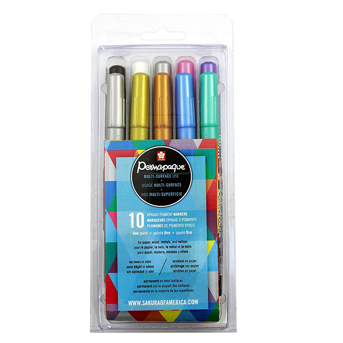 Sakura 48106 10-Piece Permapaque Assorted Color Metallic Fine Point Opaque Paint Marker Set