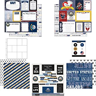 Scrapbook Customs Themed Paper and Stickers Scrapbook Kit, Navy Journal