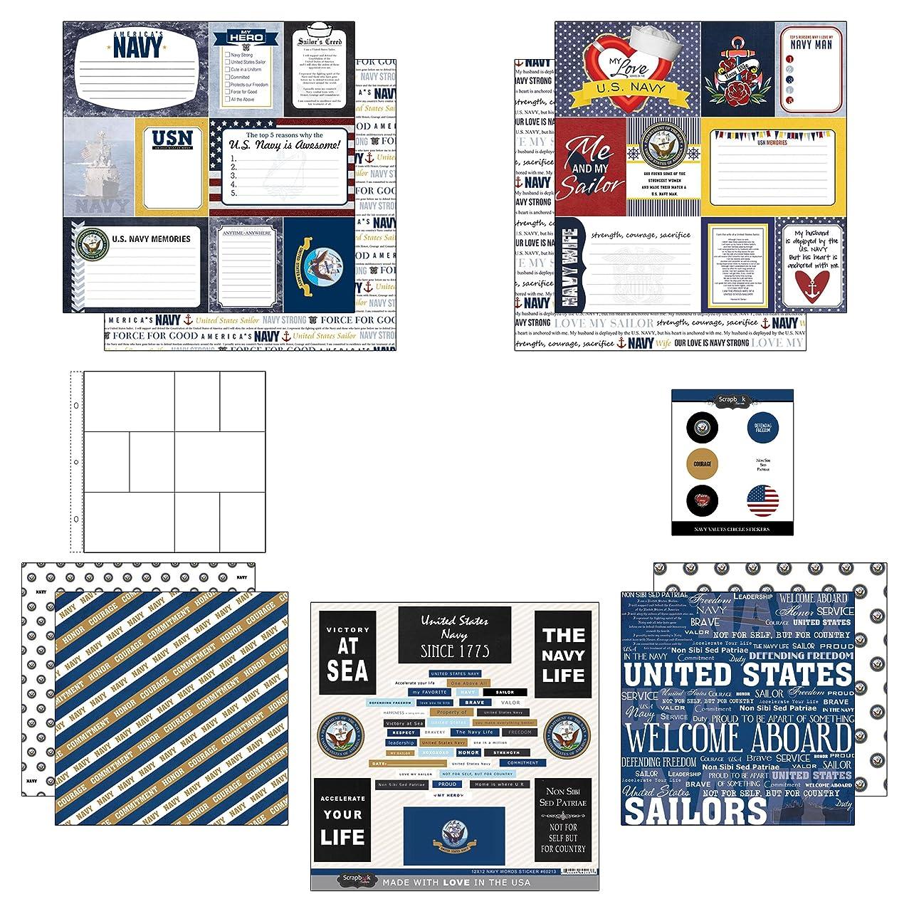 Scrapbook Customs Themed Paper and Stickers Scrapbook Kit, Navy Journal