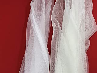 Ivory English Net/Mesh Two Way Stretch Fabric by The Yard