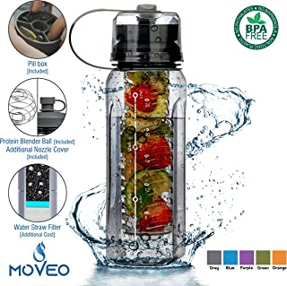Luxury Series - Water Bottle BPA Free All-in-ONE - Fruit Infuser - Blender Bottle - Water Cup & Pill Box - Water Bottle Filter [Addition] - Bottle Carrier Cooler [Addition] Tritan Material