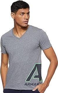 Armani Exchange Mens 3GZTAG Large Graphic Logo Short Sleeve T-Shirt, Color: Grey Size: XL