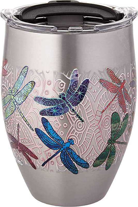 Tervis 1298863 Dragonfly Mandala Stainless Steel Insulated Tumbler With Clear And Black Hammer Lid 12oz Silver