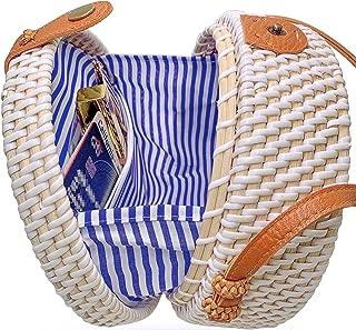 Handmade Straw White Round Rattan Bag Zipper Pouch Adjustable Strap Wicker Purse