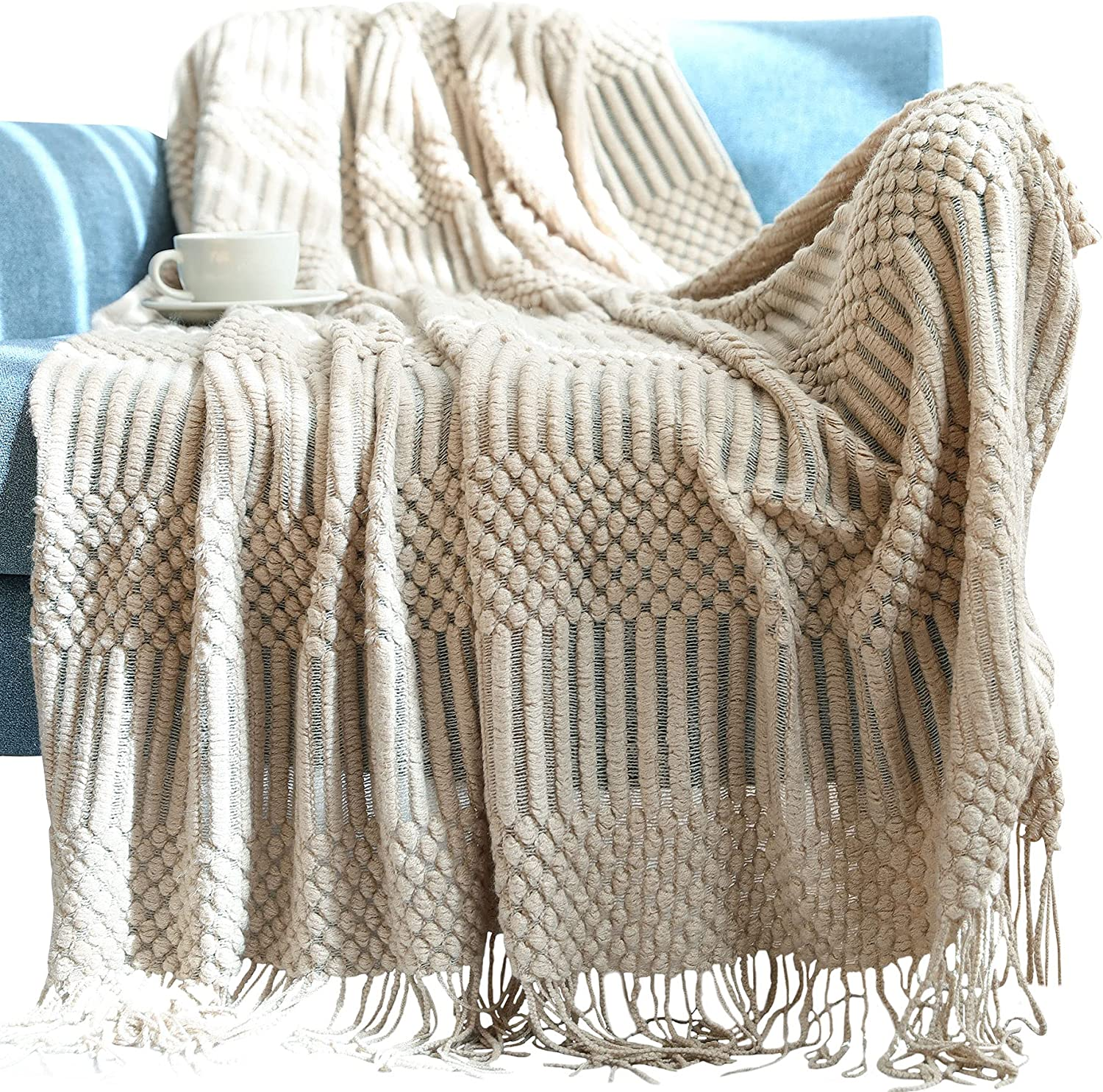 Avitalk Stylish Knitted Blanket with Tassels T Soft National uniform free Large special price !! shipping Cozy