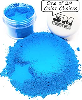 Stardust Micas Neon Pigment Powder Dyes for Soap Making, Slime Coloring, Epoxy Resin, Bright True Fluorescent Colors Cold Process Color Stable Matte Colorant Cosmic Blue