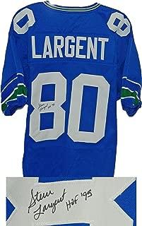 Steve Largent Signed Blue Throwback Custom Football Jersey w/HOF'95