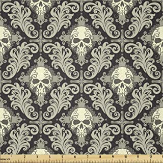 Lunarable Skull Fabric by The Yard, Skulls with Floral Curly Details Antique Victorian Design Gothic Elements, Stretch Kni...