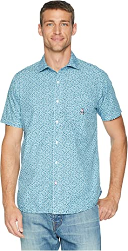 Short Sleeve Floral Vine Woven Shirt