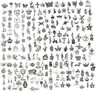 WZT 200 PCS Jewelry Making Charms Mixed Smooth Tibetan Silver Metal Charms Pendants DIY for Necklace Bracelet Jewelry Making and Crafting (200 Pcs)