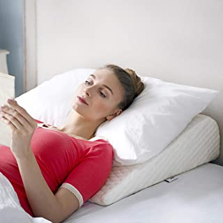 Bed Wedge Pillow | Unique Curved Design for Multi Position Use | Additional Outer Cover Included | Memory Foam Wedge Pillow for Sleeping | Reliefs Back, Leg and Knee Pain, Acid Reflux n' More (Small)