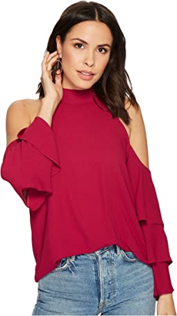 Mock Neck Cold Shoulder Blouse w/ Tiers
