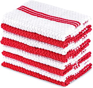 DAILY HOME ESSENTIALS 100% Cotton Terry Dish Cloth, Quick Dry Kitchen Rag | Absorbent Cafe, Bar & Restaurant Cleaning WashCloth | 8 Pack 12 x 12 inch - Red