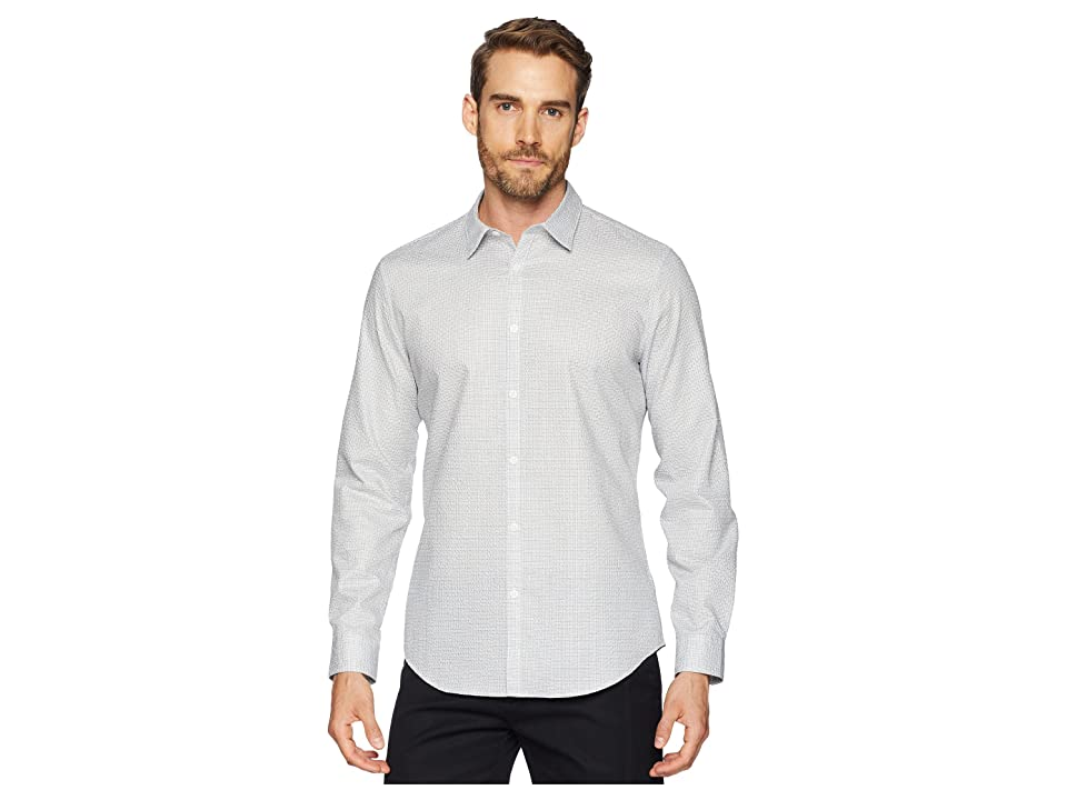 Calvin Klein Long Sleeve Seersucker Shirt (Standard White) Men