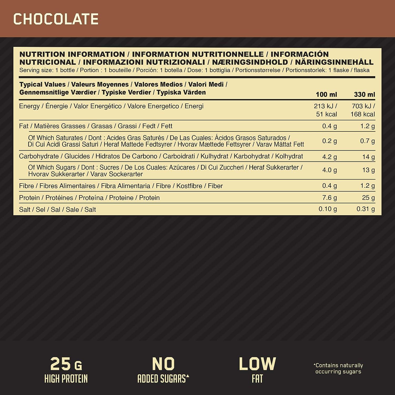 Optimum Nutrition High Protein Shake, Batidos de Proteinas para Aumentar Masa Muscular, Paquete de 10 Batidos, Chocolate, 10x330ml