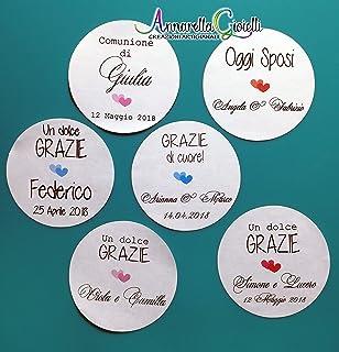 Adesivi personalizzati matrimonio, varie misure, a partire da 20 pezzi, etichette matrimonio, battesimo, thank you sticker...