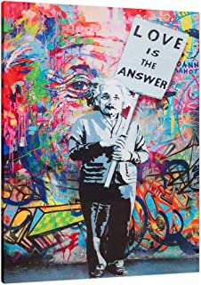 Einstein Love is The Answer Colorful Figure Street Graffiti - Framed - Canvas Print Home Decor Wall Art, Gallery Wrap Inner Frame, 27x39
