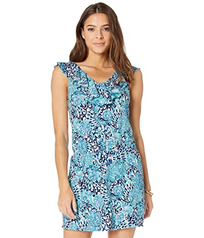 Lilly Pulitzer Alessa Romper (Light Aqua Spritz) Women