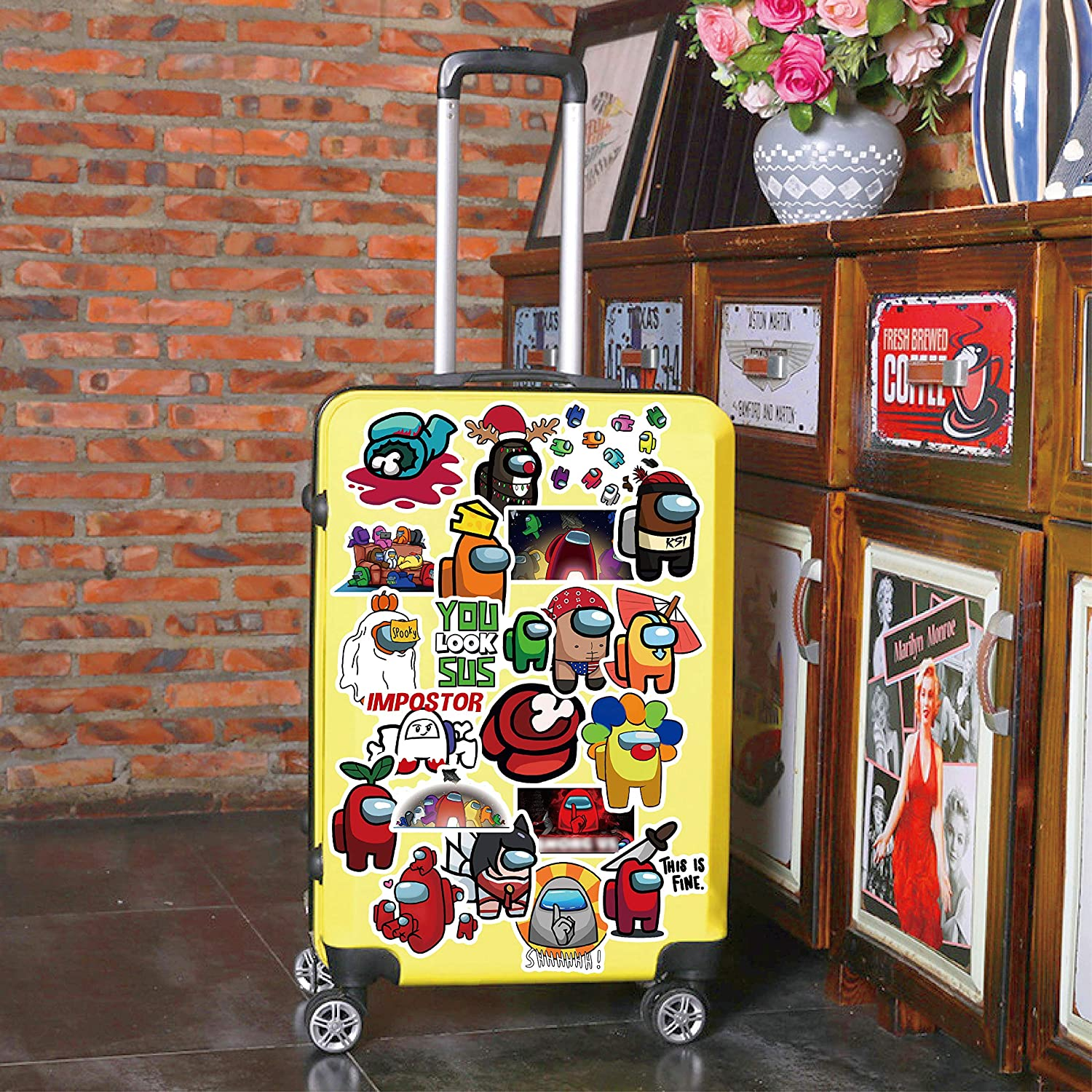 Phone//Guitar Stickers Gifts Waterproof Vinyl Stickers Bicycle Motorcycle Fridge Cartoon Travel Luggage Decal 200 PCS Game Us Stickers Among Popular Game Sticker Decals for Laptop