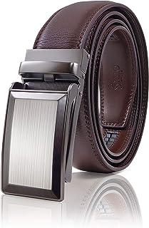 SIGLO® Cinturón para Hombres de Piel con Hebilla Automática – Diseño sin Agujeros – Cinturón de Clic Ajustable – Se adapta a tamaños 30-44 – Corte a su Ajuste Exacto – Correa Café y Hebilla Plateada