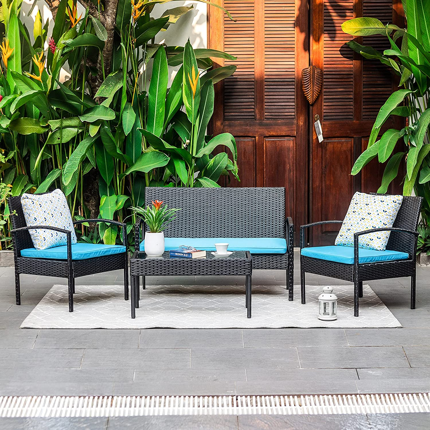 M&W 4 Piece Patio Furniture Set, Wicker Rattan Outdoor Sofa and Table Set, Patio Loveseat Chairs for Garden, Backyard, Porch, Balcony, Lawn, Poolside, Turquoise (Throw Pillow NOT Included) : Patio, Lawn & Garden