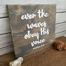 Georgia Barnard Beach Sign, Beach House Decor, Bible Verse Art, Wood Sign, Beach Quote, Coastal Decor, Even The Waves Obey His Voice, Matthews 8:27 12 x 12 x 0.2 Inch