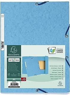 Exacompta 55519E Folder (Manila Cardboard, with Elastic Strap and 3Flaps A4400g, Turquoise