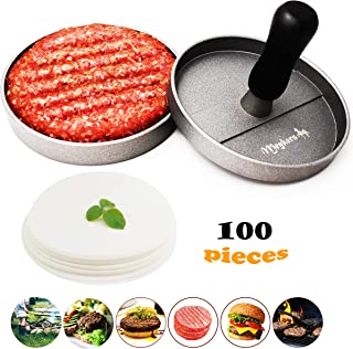 Meykers Burger Press 100 Patty Papers Set - Non-Stick Hamburger Press Patty Maker Mold with Wax Patty Paper Sheets Meat Beef Pork Lamb Cheese Halal Nut Veg Veggie Burger Maker for BBQ Barbecue Grill
