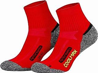 Coolmax - 2 pares de calcetines cortos para senderismo y exteriores, talla 35-38 39-42 43-46 47-50, Todo el año, Hombre, color rojo, tamaño 43-46