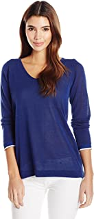 NYDJ Womens Mixed Media V-Neck Sweater with Overlapped Back Pullover Sweater