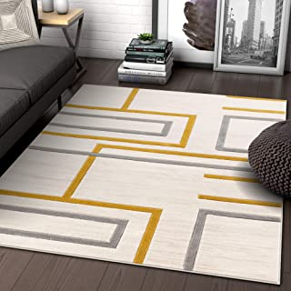 Well Woven Fiora Gold Modern Geometric Stripes & Boxes Pattern Area Rug 8x10 (7'10