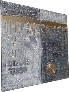 Blanco y negro y dorado Abstracto A241 - díptico industrial con textura, arte original, pinturas abstractas con textura de...