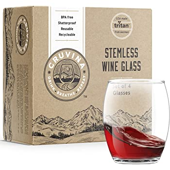 Unbreakable Stemless Plastic Wine Glasses: Shatterproof Tritan Cups, Ideal for Indoor and Outdoor Use, Elegant and Practical, 13 Ounce Glass Set of 4 by Cruvina
