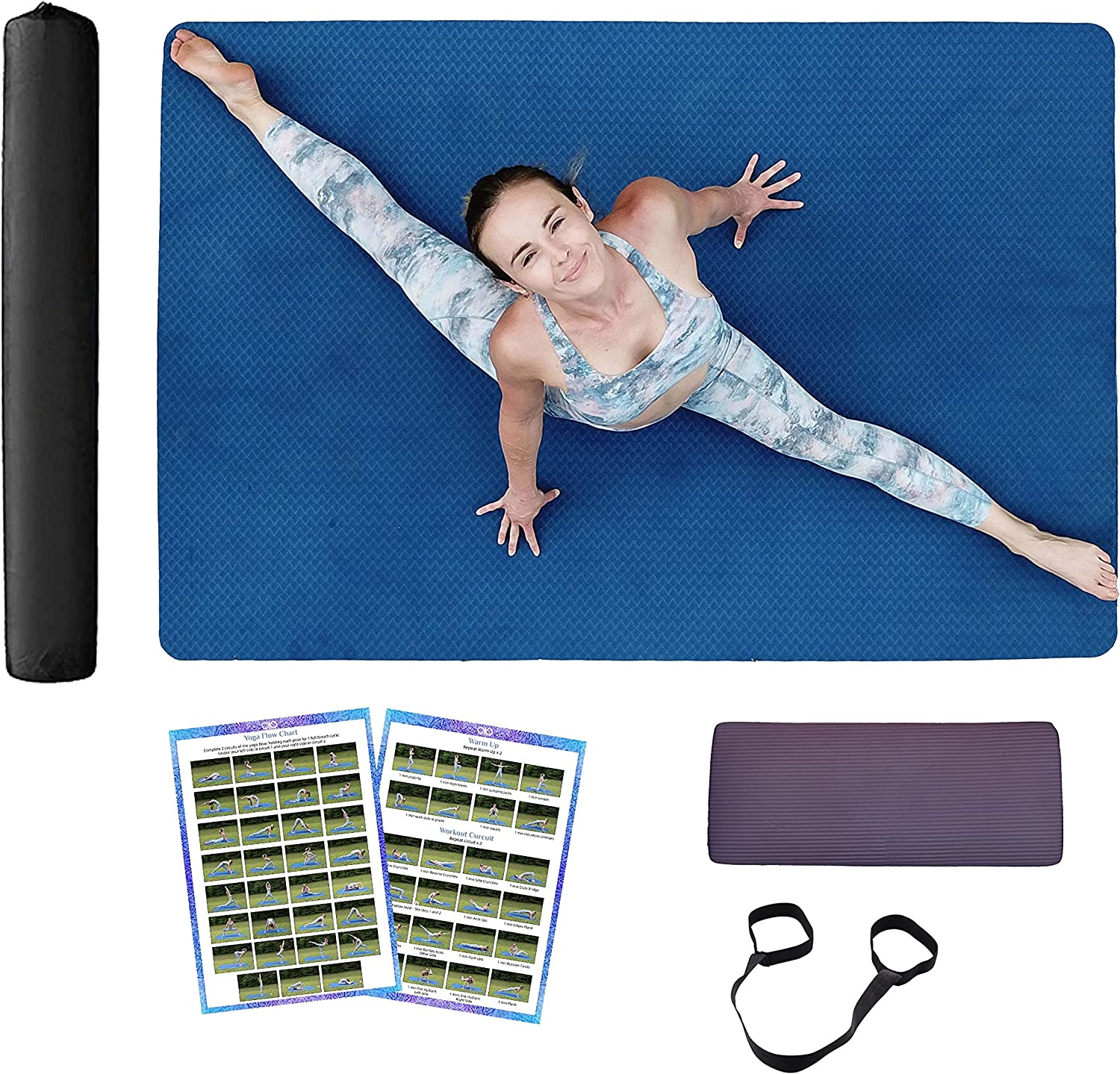 Large yoga mat set extra Direct stock discount wide Ranking TOP2 + long - women f eco for 4x6 men