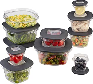 Rubbermaid Premier Easy Find Lids Meal Prep and Food Storage Containers, Set of 10 (20 Pieces Total), Grey |BPA-Free & Stain Resistant