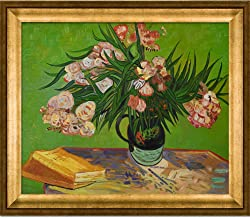 overstockArt VG2199-FR-994620X24 Van Gogh Majolica Jar with Branches of Oleander 1888 Oil Painting with Athenian Gold Fram...