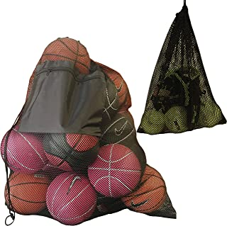 2 Pack Mesh Ball Bag, Mesh Sports Equipment Bags, Heavy Duty and Extra Thick Drawstring 29 Inch x 38 Inch Sport Mesh Ball Bag with Shoulder Strap and Front Pocket, Mesh Equipment Bag 14 x 18 Inch