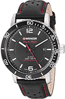 Wenger Men's Roadster Black Night Stainless Steel Swiss-Quartz Leather Strap, 21.1 Casual Watch (Model: 01.1841.101)