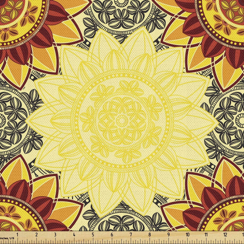 送料無料でお届けします Lunarable Yellow Mandala Fabric by Mot The Bohemian Yard 休日 Floral
