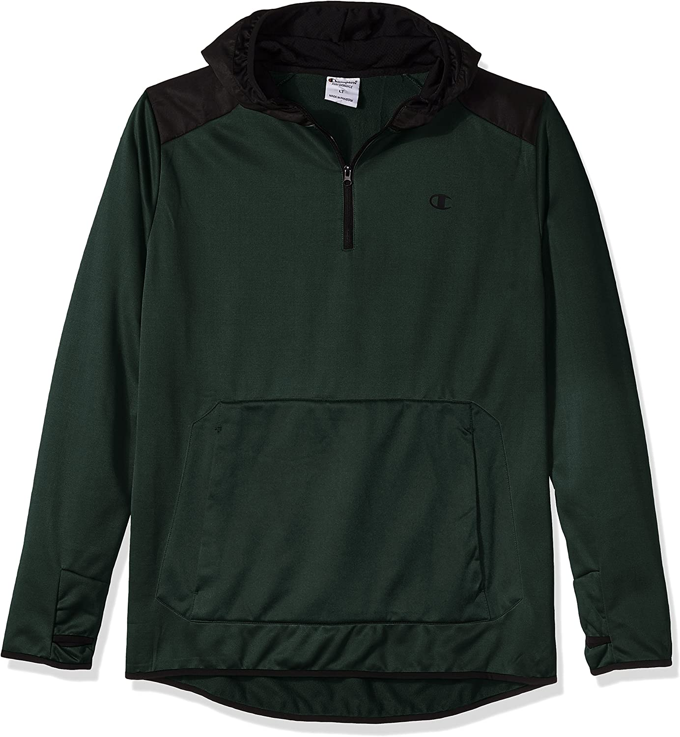 Champion Mens Poly Po Hood with Contrast Sleeve Zip Pouch Hoody