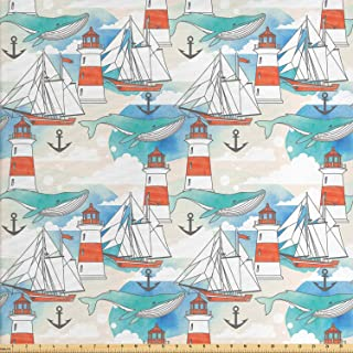 Ambesonne Lighthouse Fabric by The Yard, Abstract Whale Anchor and Boats Pattern Sky Inspired Background Nautical Design, Decorative Fabric for Upholstery and Home Accents, 1 Yard, Seafoam Champagne