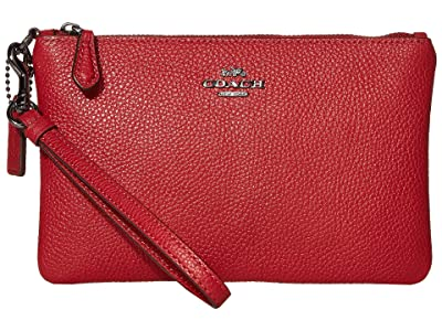 COACH Polished Pebble Small Wristlet (Red Apple/Gunmetal) Wristlet Handbags