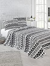 EnLora Home Artec Single Quilted Bedspread Set, Black/White, 160 x 220 cm, 162ELR9117