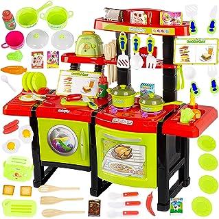 Kinderplay Cuisine Enfant avec Grille-Pain, dinette Enfant, Ensemble de Cuisine avec 36 Accessoires, Eau, lumière et Son, ...
